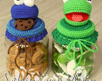 English Cookiemonster - Kermit the Frog cookiejar pattern