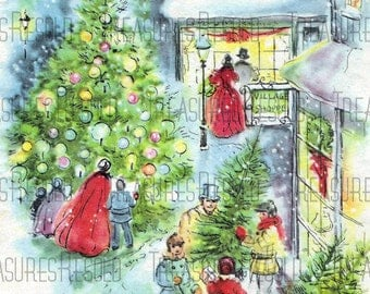 Bringing Home The Tree Christmas Shopping Scene Christmas Card #608 Digital Download