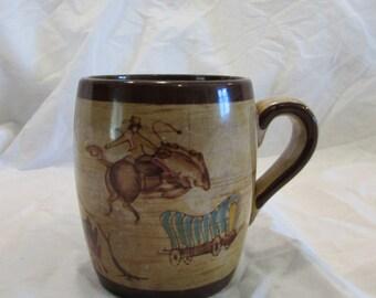 Coffee Mug, Cowboy Theme, Collectable, Souvenir, Hand Painted