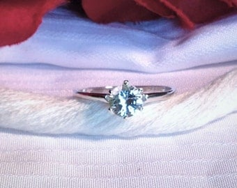 Sparkling Solitaire White Sapphire Ring ~ 925 Sterling Silver ~ Size 7.75