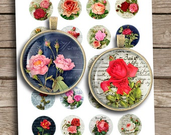 Shabby Roses 20mm 25mm 1inch 1.5 inch Printable Round images for Pendant trays Bottlecap images  Digital Collage Sheet