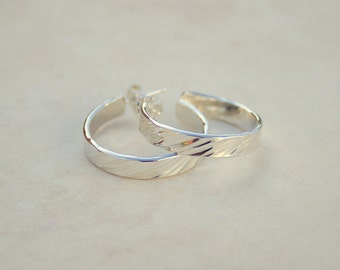 Size 2 Silver Diagonal Hammered Hoops, Argentium Silver Hoops, Silver Hoop Earrings, Handforged Silver, Everyday Earrings
