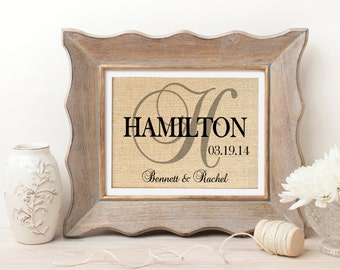 Personalized Burlap Print Wall Art | Couples Wedding Gift | Personalized Monogrammed Name Sign | Engagement Gift | Bridal Shower Gift