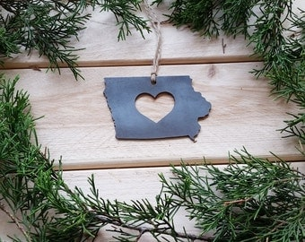 Iowa State Christmas Ornament Rustic Raw Steel Personalize Engrave Love IA Metal Holiday Decoration Stocking Stuffer House Warming Gift