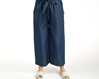Women pants , women wide pants , cotton denim , summer pants , wide leg , made on measure , blue
