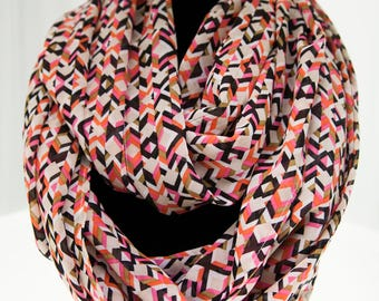 Pink, Orange and Neutral Geometric Pattern Infinity Scarf