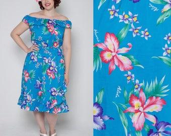 1990's Hawaiian Tropical print dress//Wrap dress style// Off the shoulder dress// Tiki dress/Hibiscus dress