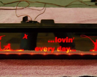Trailer hitch cover: Lighted, LED illuminated,custom engraved mirrored acrylic (bronze)