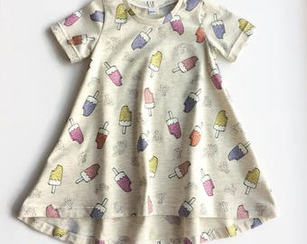 Girls tshirt dress with short sleeves. Summer dress. Jersey fabric with sparkly popsicles. Toddler dress. Blue or beige. Glitter ice cream