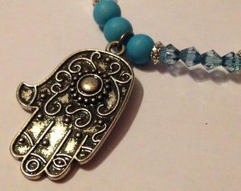 Hand of Fatima Beaded Stretch Bracelet