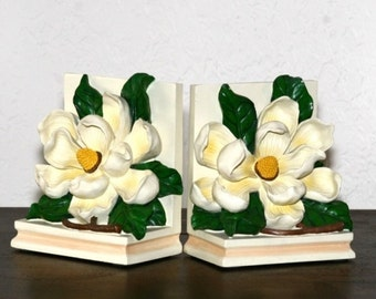 Vintage Floral Bookends -  Dogwood Blossoms Bookends - - Spring Decor - Cottage Chic Bookshelf Decor for Your Books