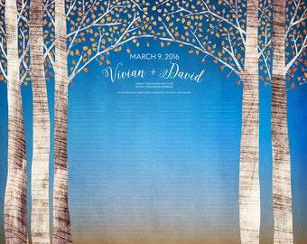 Contemporary Custom Quaker Marriage Certificate Birch Trees Autumn