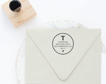 Monogram Address Stamp, Return Address Stamp, Self Inking Stamp, Wedding Stamp, Circle Address Stamp, Round Address Stamp, Heart Stamp