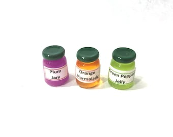 Jelly Jam Jars Dollhouse Kitchen Miniatures Set of 3 Assorted 1:12 Scale - 413 A
