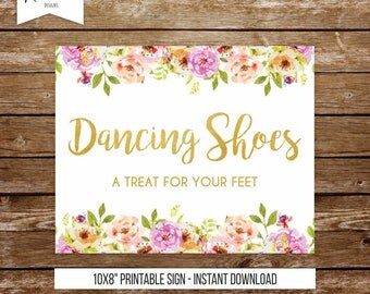 Dancing shoes sign wedding sign a little treat for your feet sign dancing feet sign printable sign wedding party shoes for guests sign 237