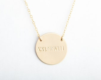"Large Round Disc Attached Necklace, 7/8"", 22mm, Roman Numeral, Date, Gold Filled, Sterling Silver, Rose Gold Filled"