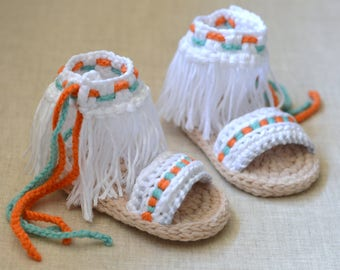 CROCHET PATTERN Baby Sandals Boho Fringe Style Baby Shoes Pattern 3 Sizes Instant Download Digital File