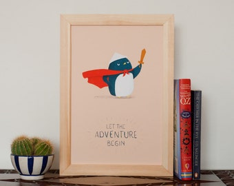 Penguin adventure Print - Giclee Art Illustration