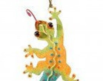 Painted Metal Gecko Ornament