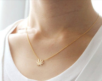14k Gold Plated Weed Leaf Necklace