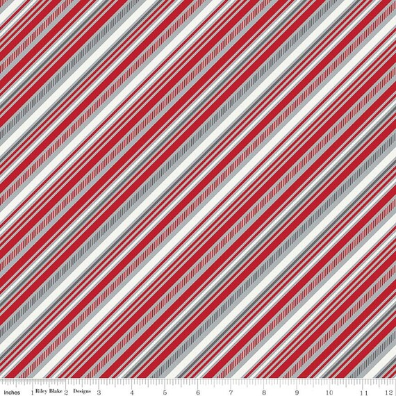 Red & Gray Stripe Quilt Fabric, Riley Blake Play Ball 2 C5136 Red ... : stripe quilt fabric - Adamdwight.com