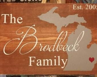 Custom Michigan Family Sign