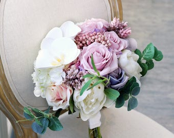 Handmade Custom Personalized Romantic  Purple Violet Silk Flower Wedding Bouquet- Peony , Garden Rose, Phalaenopsis, Orchiad