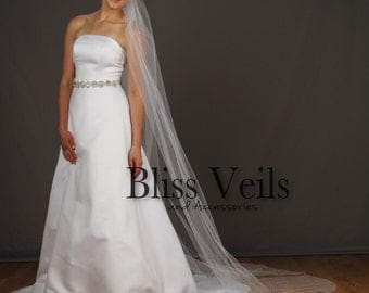 Cathedral Wedding Veil - Chapel Veil - Ivory Cathedral Veil - Soft Bridal Veil - One Tier Veil - Fast Shipping!