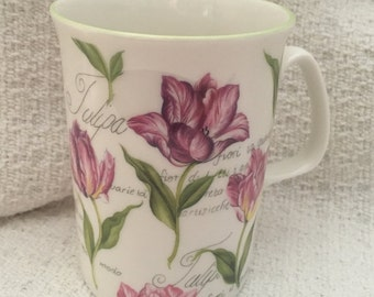 Rose of England Tulip Mug, Bone China Surrey Tulip, Tulip Cup, Tulip Mug,  Surrey Tulip, Green Rim,  England, Tulip Design, United Kingdom