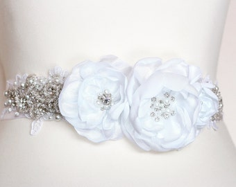 Bridal sash belt White Floral Sash, Satin Flowers Pearls Beaded Lace Wedding Dress Sashes Belts
