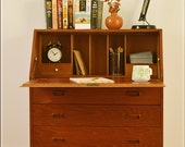 Vintage Teak Bureau Desk Danish Design Mid Century Ellman