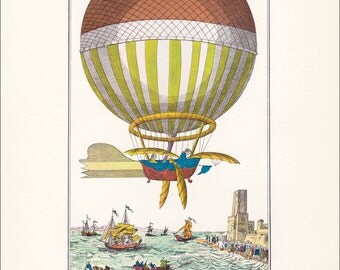 Vintage Balloon Print hot air balloon transport Montgolfier air travel Channel crossing 7 x 9.25 inches