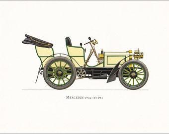 Mercedes 1900 veteran car motoring white vintage German car print illustration home office décor boy's nursery 9.5 x 7 inches