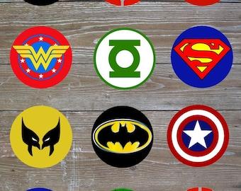 Superhero Cupcake Toppers // Superhero Logos Cupcake Toppers // Superhero Cupcakes // Superhero Party // Superhero Toppers // Hero Cupcakes