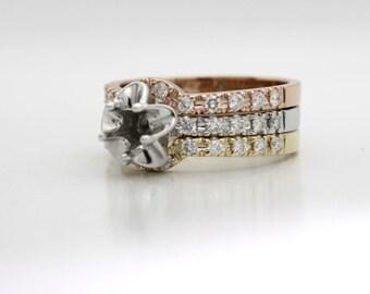 14K Tri Color Gold Tulip Engagement Ring, Bridal or Tridal Set, Wedding Band Diamond Semi Mount! Set your Diamond, Gemstone, Moissanite USA