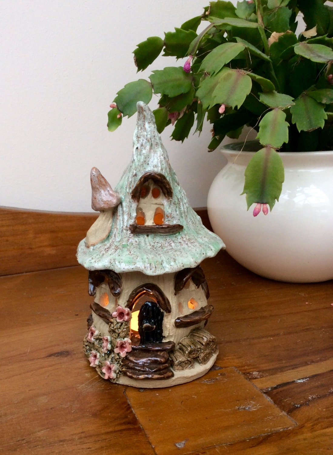 Fairy House Tea Light Holder Ceramic Candle Holder House