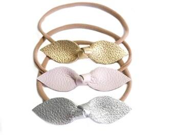Leather bow headband, baby nylon headbands, leather, nylon, baby girl, gold bow, silver bow, gold nylon bow, newborn headbands, accessories