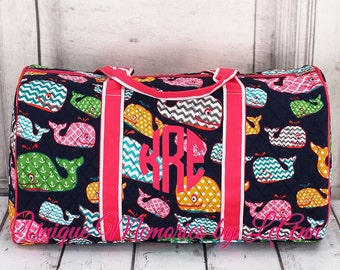 Whale duffle bag quilted w/detachable bows, zippered closure with FREE Monogram or Name - Nautical duffle bag, Travel bag, overnight bag