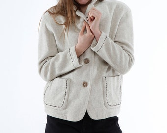 VINTAGE Wool JACKET, cream, embroidered detail, pockets, 70s, 80s, wholesale ID: 3157