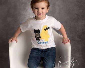 Boy's Batman Birthday Shirt, Toddler Batman Birthday Shirt, Superhero Birthday, Embroidered Applique shirt