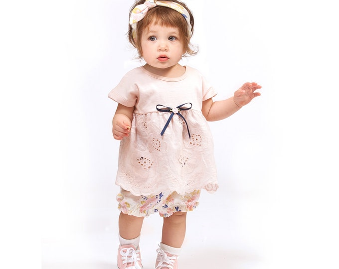 Baby Girl Coming Home Outfit, Baby Girl Eyelet Set, Baby Girl Summer Outfit, Baby Girl Lace Top Bloomers Set, Tesababe TB02EBHBFBP64SB-1