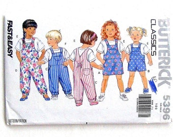 Butterick Very Easy Toddler Jumpsuit, Jumper and Top Sewing Pattern #5396 - Sizes 1 +2+3