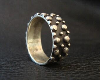 Silver / Black Nub Ring Vintage  #49