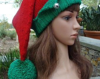 DIY- Knitting PATTERN #146:  Santa's Elf Knit Hat with Pom-pom Pattern, Elf hat pattern, Elf knit hat pattern, Teen/Adult, Digital Pattern