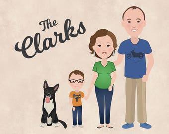 Custom Family Portrait Digital Illustration