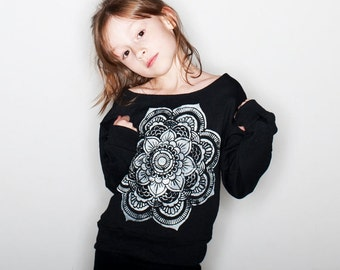 Girl's Sweatshirt Mandala Shirt e Girl's Mandala Tshirt Kid's Clothing Girl's Sweatshirts « G180Bblack «« (ots, ss) «