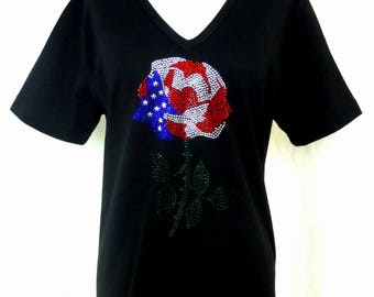 Hand Embellished All Rhinestone Embellished Patriotic Rose Short Sleeve Long Knit Top Available Sizes Small Up To Size 3X
