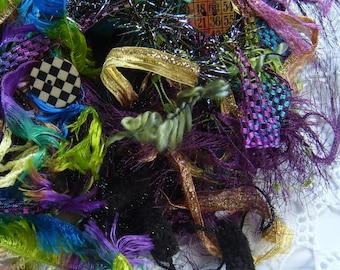 COURT JESTER fiber art yarn bundle/21 yds.+ 2 buttons/embellishment trim/novelty yarn/ craft trim/scrapbook/fiber art projects/textile art
