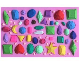 Diamond Gemstone Silicone Mold - Sugarcraft Fondant Chocolate Cake Decoration - Gem Jewel Stone Flexible Resin Mould - mc05
