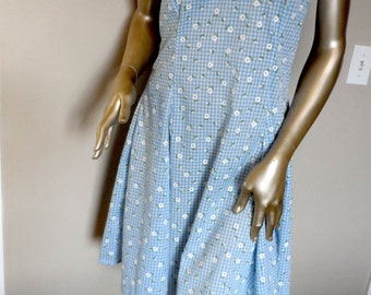 Vintage 1970's Sundress* Blue Gingham & Tiny Flowers.Size M/L. Chris-Crossed Straps In Back. Lightweight Cotton.Summer.Fun. Sweet. Seventies